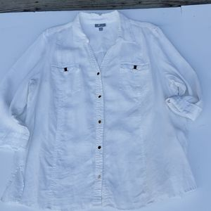 J M Collections 20w white Linen top 3/4 slv
